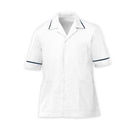 Men's Lightweight Tunic (White with Navy Trim) - NM48
