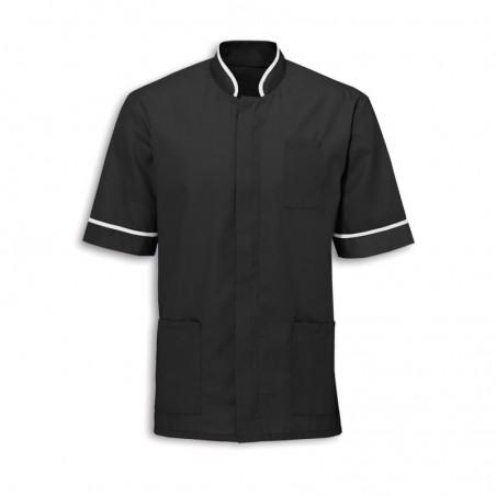Men's Mandarin Collar Tunic (Black with White Trim) - NM7