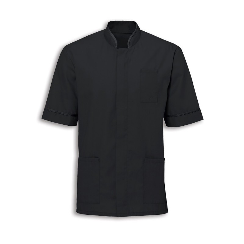 Men's Mandarin Collar Tunic (Black with Black Trim) - NM7