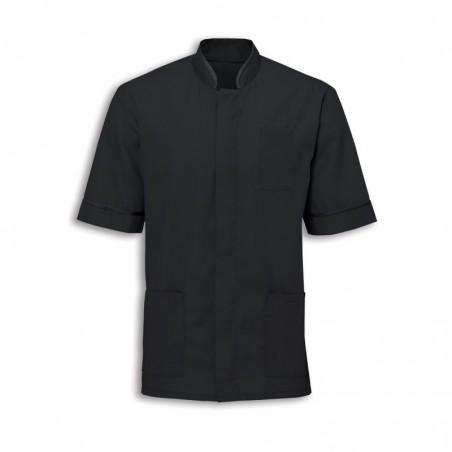 Men's Mandarin Collar Tunic (Black with Black Trim) - NM7