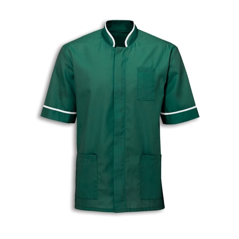 Men's Mandarin Collar Tunic (Bottle Green with White Trim) - NM7
