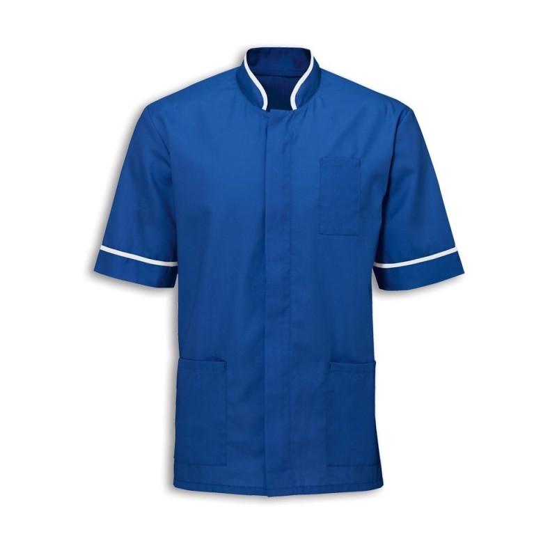 Men's Mandarin Collar Tunic (Royal Blue with White Trim) - NM7