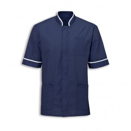 Men's Mandarin Collar Tunic (Navy with White Trim) - NM7