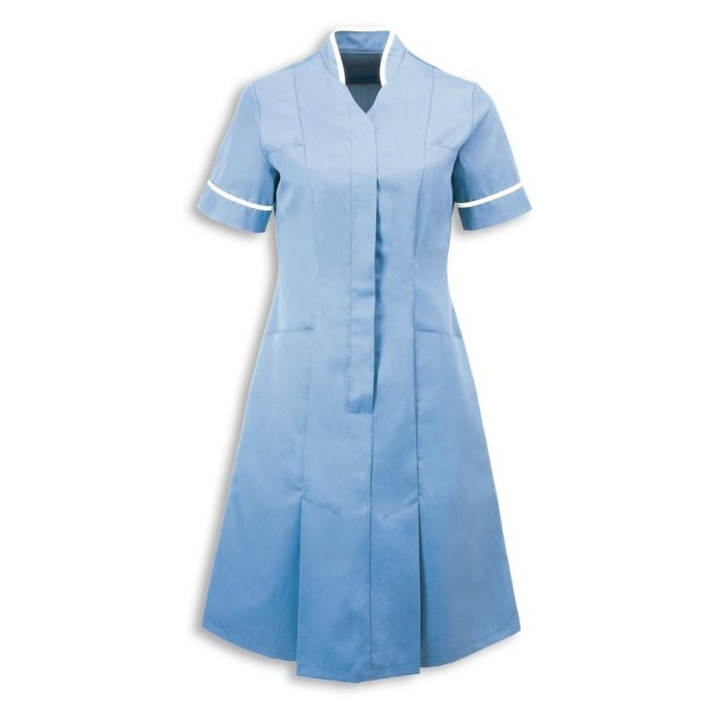Mandarin Collar Dress (Pale Blue With White Trim) - NF51