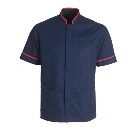 Men's Mandarin Collar Tunic (Navy with Red Trim) - NM7