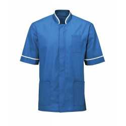 Men's Mandarin Collar Tunic (Hospital Blue with White Trim) - NM7