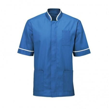 Men's Mandarin Collar Tunic (Hospital Blue with White Trim) - NM7