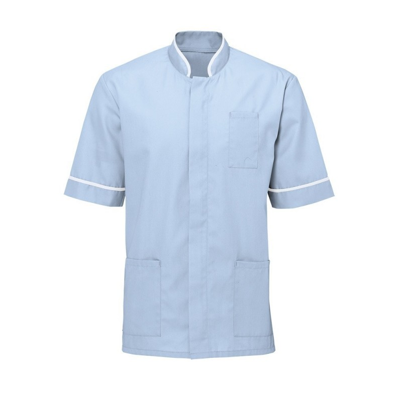Men's Mandarin Collar Tunic (Pale Blue with White Trim) - NM7