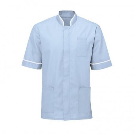 Men's Mandarin Collar Tunic (Pale Blue with White Trim) - NM7