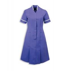 Mandarin Collar Dress (Purple With White Trim) - NF51