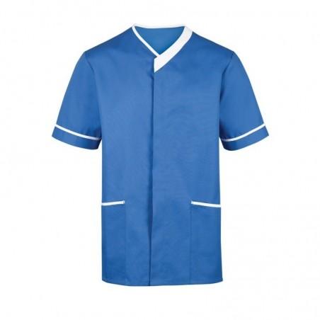 Men's Contrast Trim Tunic (Hospital Blue with White Trim) - NM54