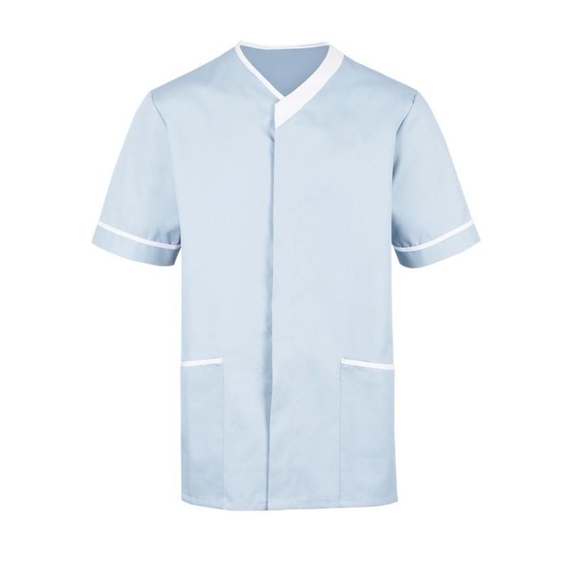 Men's Contrast Trim Tunic (Pale Blue with White Trim) - NM54