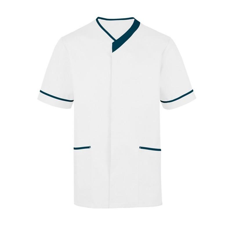 Men's Contrast Trim Tunic (White with Navy Trim) - NM54