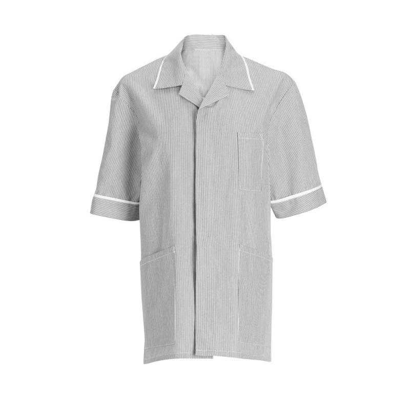 Men's Stripe Tunic (Pale Grey with White Trim) - NM173