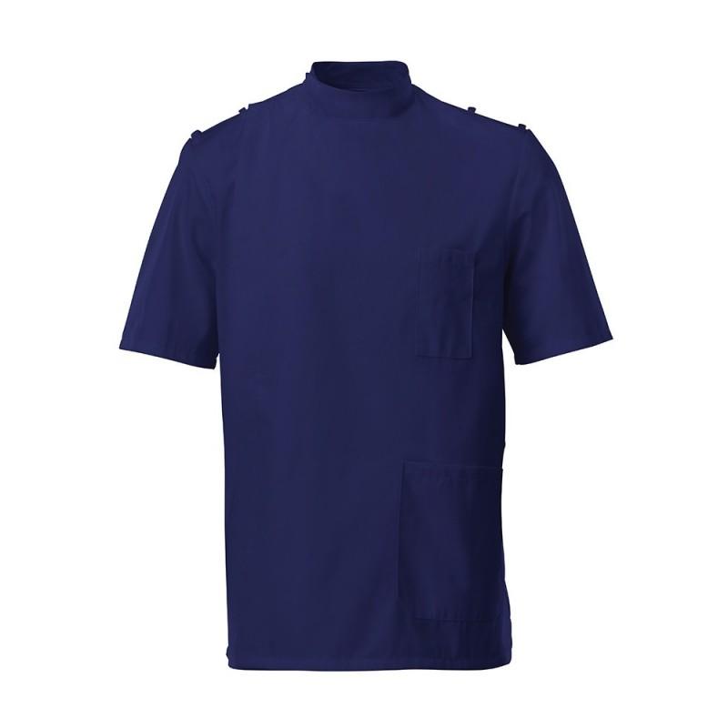 Men's Mandarin Collar Epaulette Tunic  (Navy) - G91