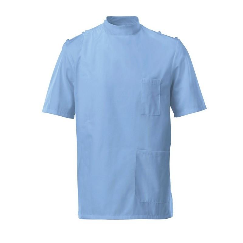 Men's Mandarin Collar Epaulette Tunic (Hospital Blue) - G91