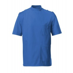 Men's Mandarin Collar Epaulette Tunic (Hospital Blue) - G91