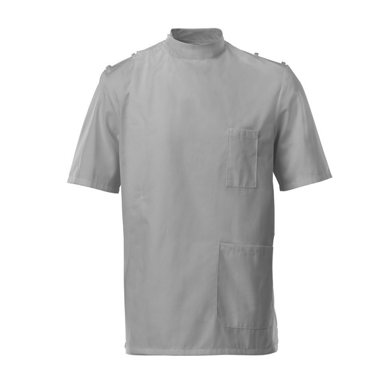 Men's Mandarin Collar Epaulette Tunic (Pale Grey) - G91