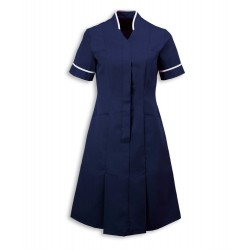 Mandarin Collar Dress (Sailor Navy with White Trim) - NF51