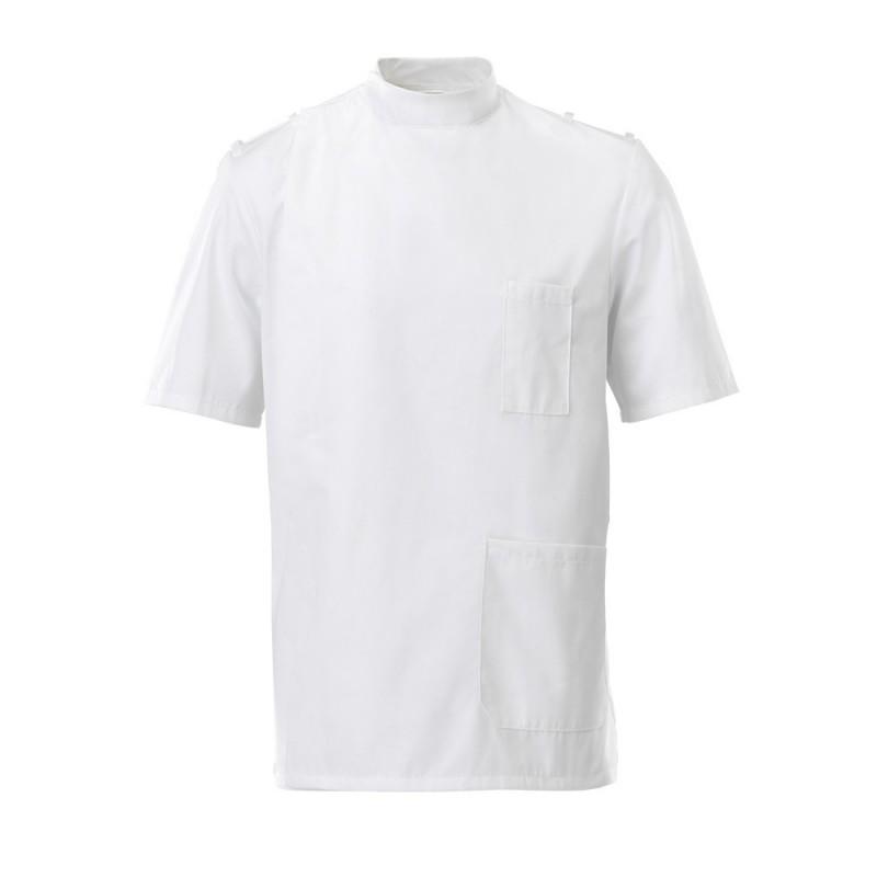 Men's Mandarin Collar Epaulette Tunic (White) - G91