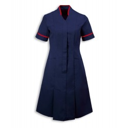 Mandarin Collar Dress (Sailor Navy with Red Trim) - NF51