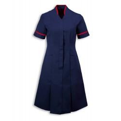Mandarin Collar Dress (Sailor Navy With Red Trim) - NF51