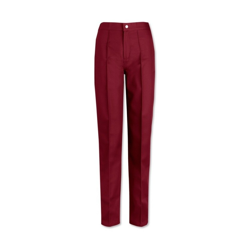Women's Flat Front Trousers (Burgundy) W40