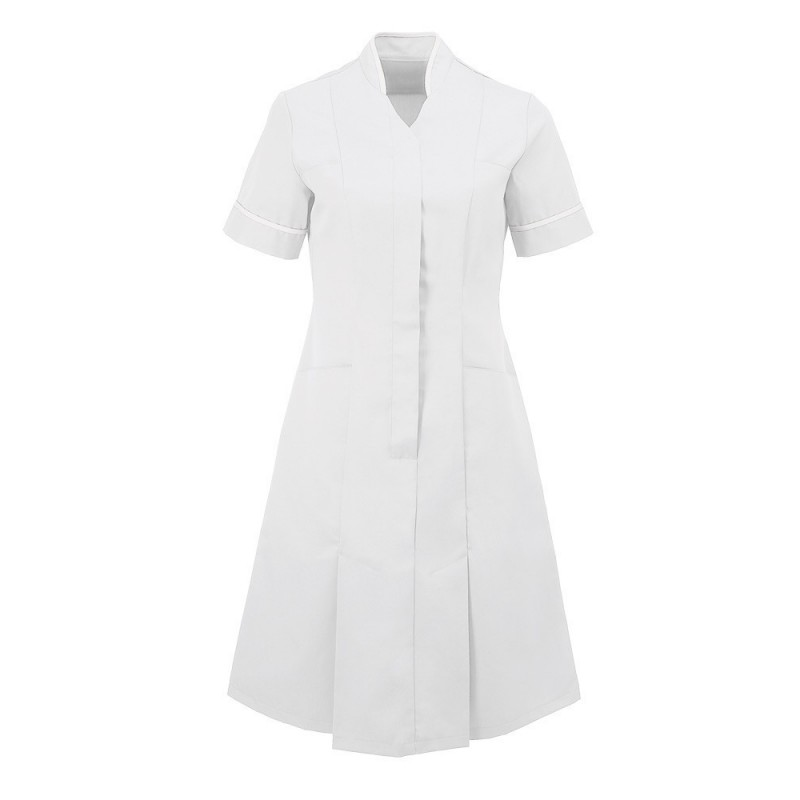 Mandarin Collar Dress (White With White Trim) - NF51