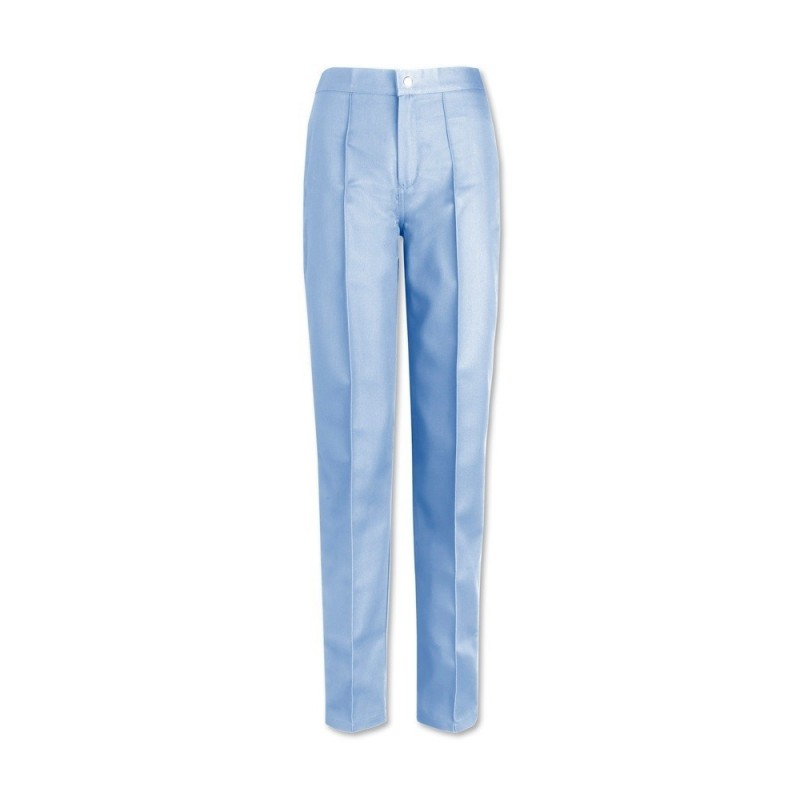 Women's Flat Front Trousers (Pale Blue) W40