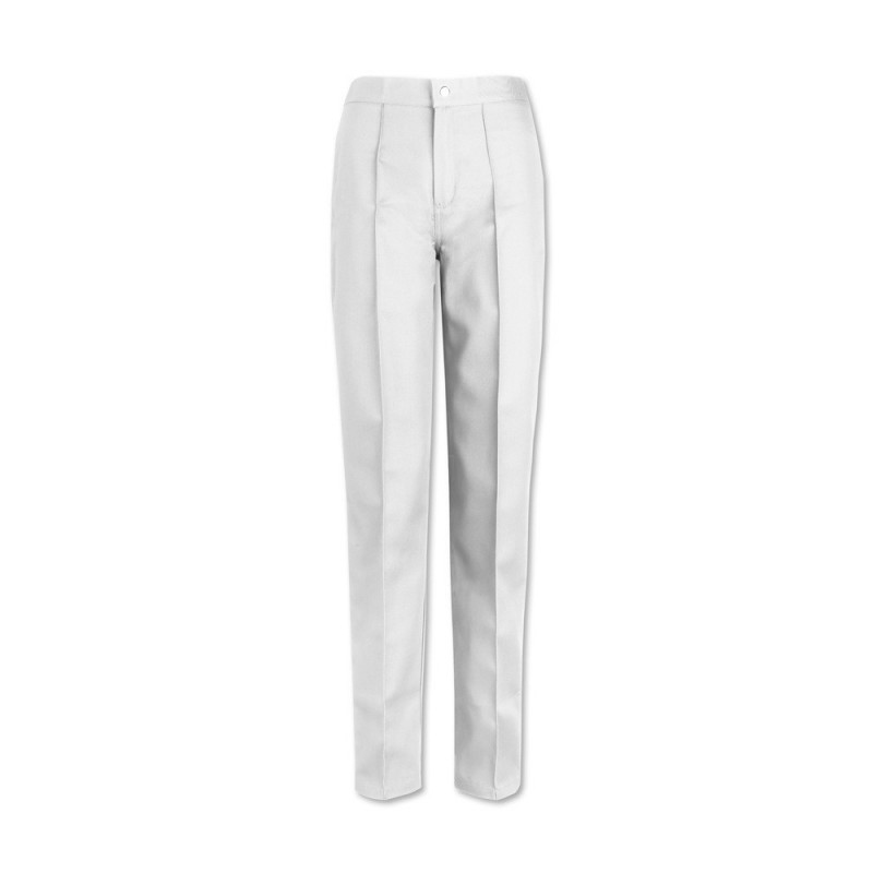 Women's Flat Front Trousers (White) W40