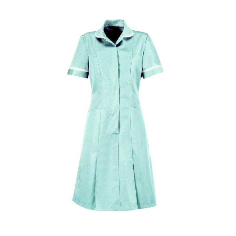 Soft Brushed Dress (Aqua With White Trim) - D308