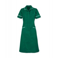 Soft Brushed Dress (Bottle Green with White Trim) - D308