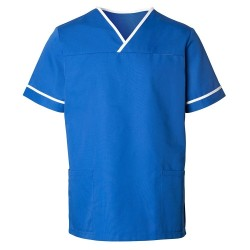 Unisex Contrast Trim Scrub Tunic (Royal Blue) - HP20