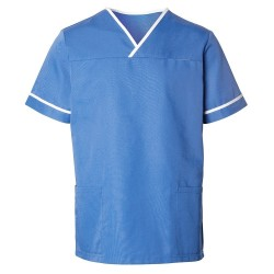 Unisex Contrast Trim Scrub Tunic (Hospital Blue) - HP20
