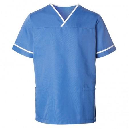 Unisex Contrast Trim Scrub Tunic (Hospital Blue) - HP20