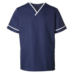 Unisex Contrast Trim Scrub Tunic (Navy with White Trim) - HP20
