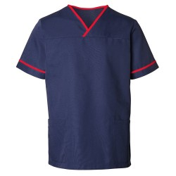 Unisex Contrast Trim Scrub Tunic (Navy with Red Trim) - HP20