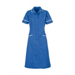 Soft Brushed Dress (Hospital Blue with White Trim) - D308