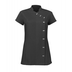 Women's Asymmetrical Button Tunic (Black) - NF990