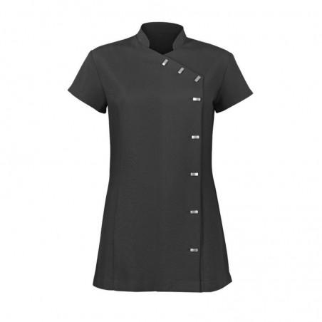 Women's Asymmetrical Button Tunic (Black) - NF990