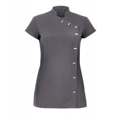 Women's Asymmetrical Button Tunic (Charcoal) - NF990