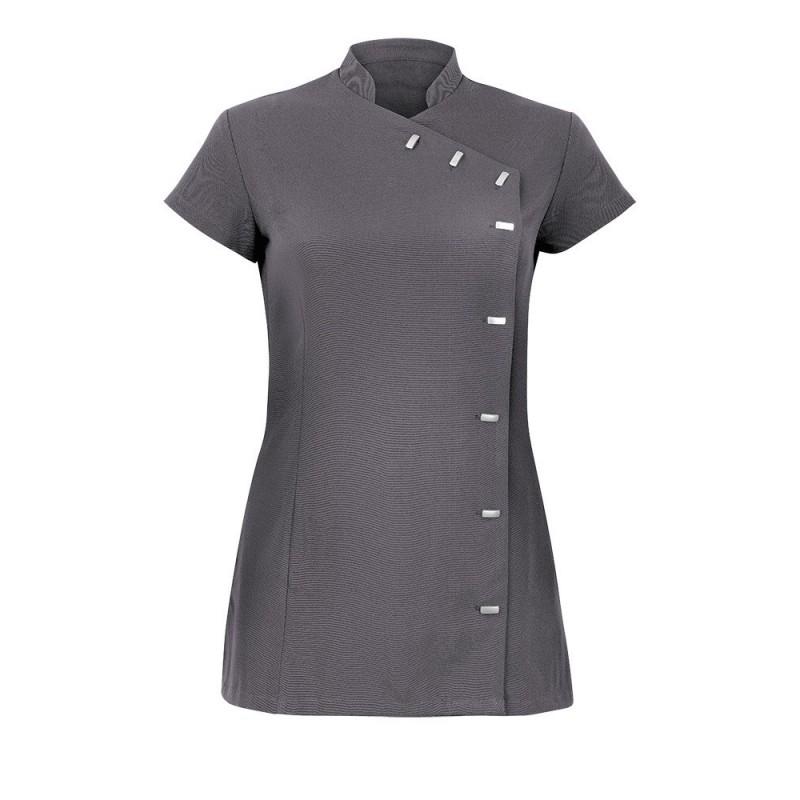 Women's Asymmetrical Button Tunic (Charcoal) - NF990