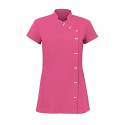 Women's Asymmetrical Button Tunic (Hot Pink) - NF990