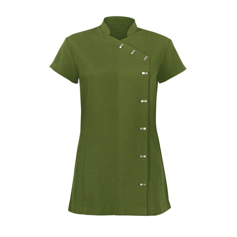 Women's Asymmetrical Button Tunic (Olive) - NF990