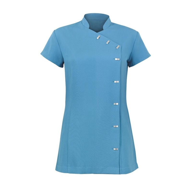 Women's Asymmetrical Button Tunic (Peacock) - NF990