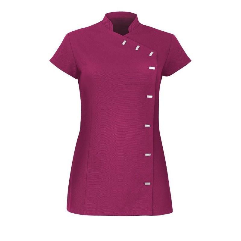 Women's Asymmetrical Button Tunic (Raspberry) - NF990