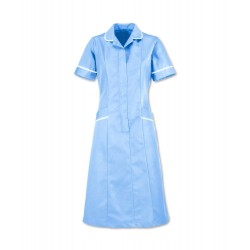 Soft Brushed Dress (Pale Blue with White Trim) - D308