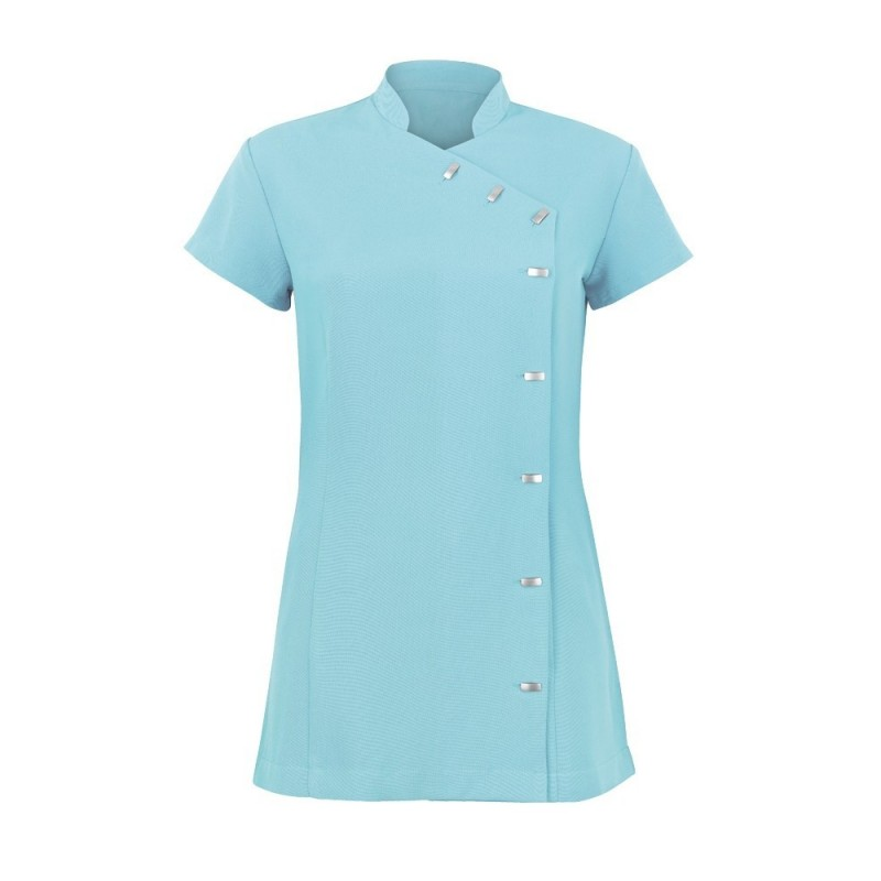 Women's Asymmetrical Button Tunic (Teal) - NF990