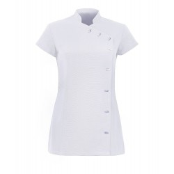 Women's Asymmetrical Button Tunic (White) - NF990