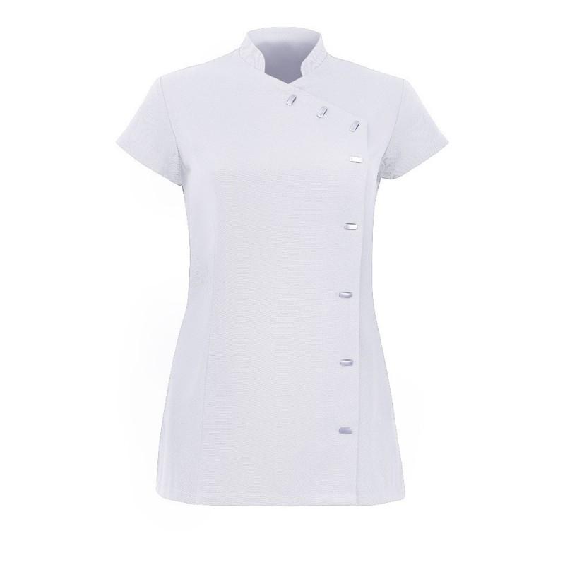 Women's Asymmetrical Button Tunic (White) - NF990
